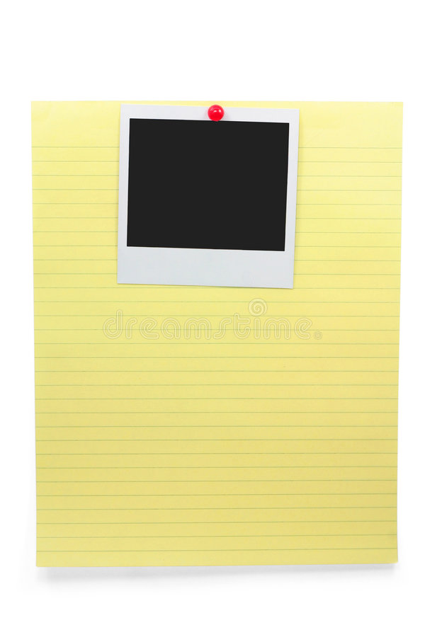 Papel de carta y foto en blanco imagen de archivo