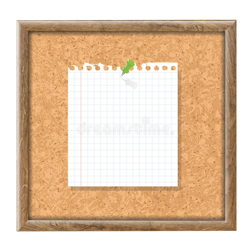 Papel de Cork Board With Blank Note y Pin verde ilustración del vector