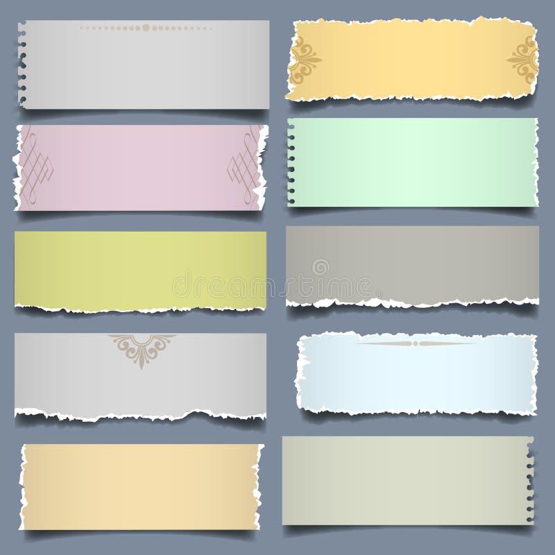 Papel de diez notas en colores en colores pastel stock de ilustración