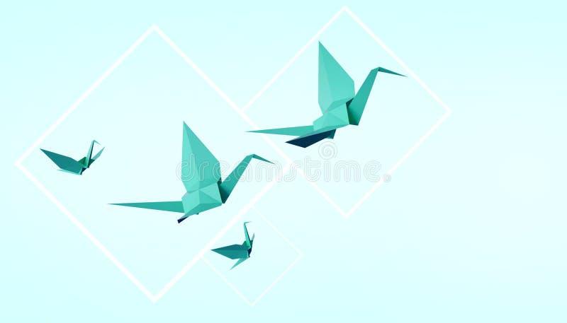 Papel de dobramento e paz dos pássaros no fundo verde pastel ilustração do vetor