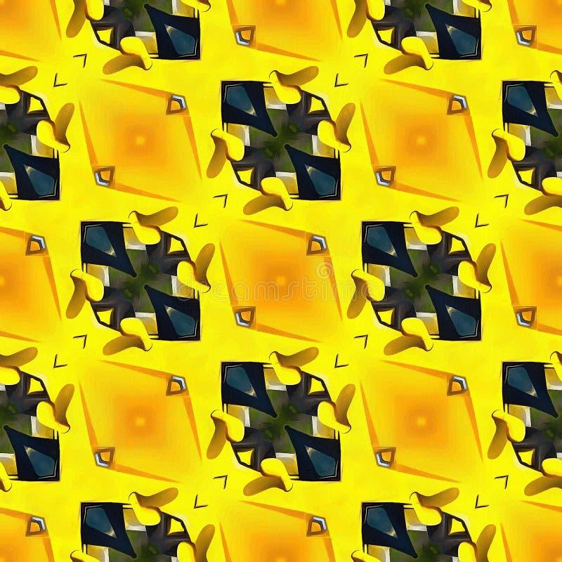 Papel de embalaje inconsútil de la impresión de la tela del fondo del remolino del extracto del modelo de Ikat Ogee Gray Hot Pink stock de ilustración