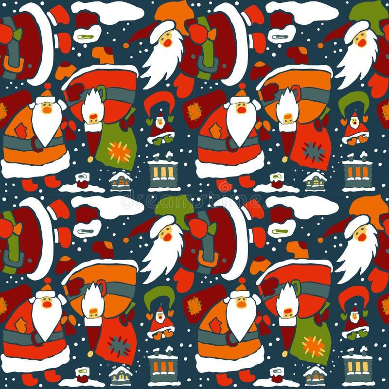 Papel de embalaje de la Navidad de la historieta stock de ilustración