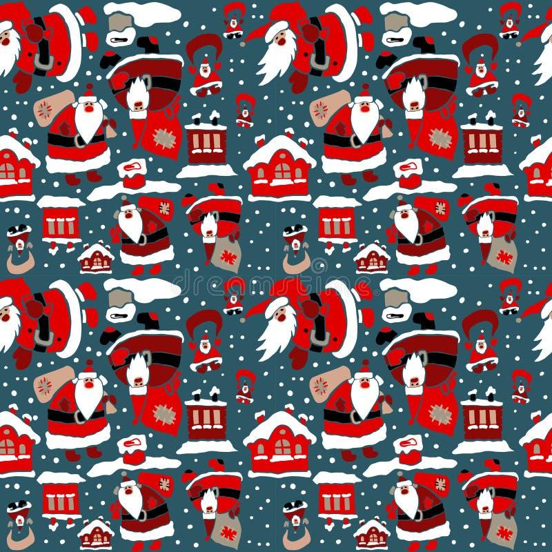 Papel de embalaje de la Navidad de la historieta ilustración del vector