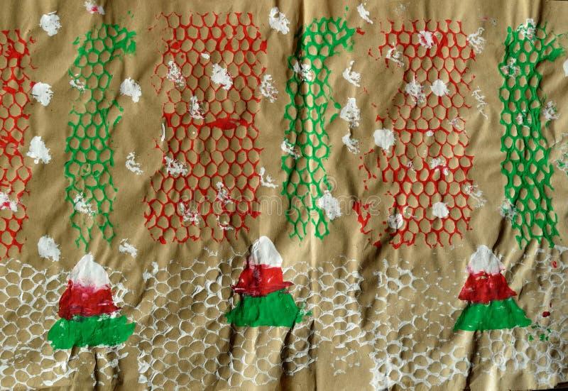 Papel de envolvimento do inverno do Natal do feriado dos ofícios das crianças fotografia de stock royalty free