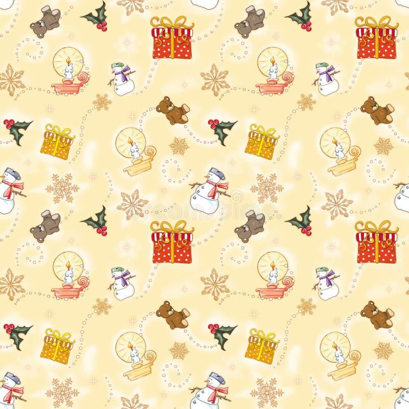 Papel de envolvimento do Natal da criança do ouro ilustração do vetor