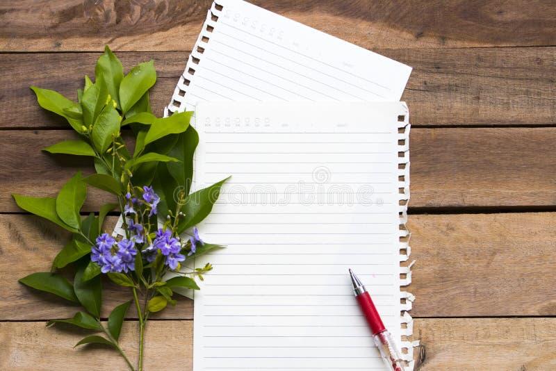 Papel de escribir con styl puesto plano púrpura del centro de flores fotos de archivo libres de regalías