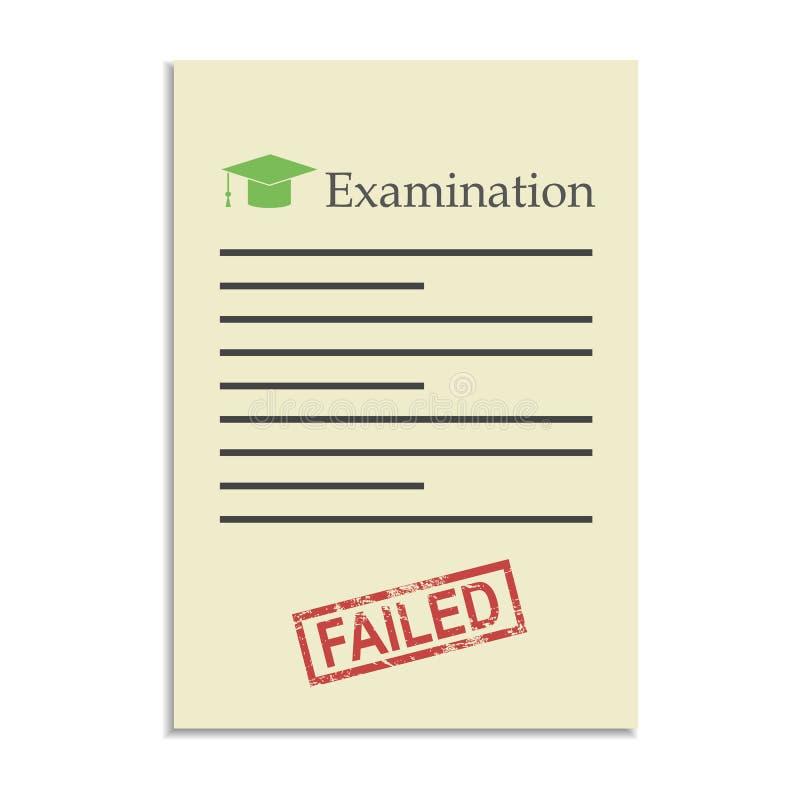 Papel de exame com selo falhado ilustração stock