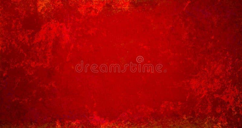 Papel de fondo rojo de Navidad con textura vintage angustiada que es desordenada y envejecida en un elegante y elegante diseño ilustración del vector