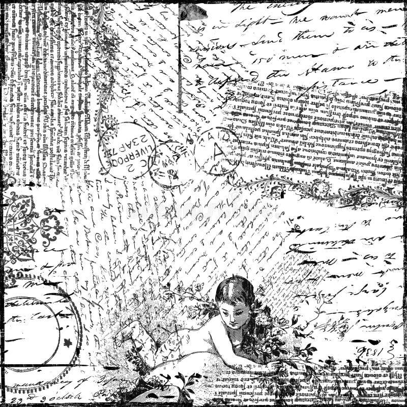 Papel de fundo do Victorian da colagem do texto do vintage ilustração royalty free