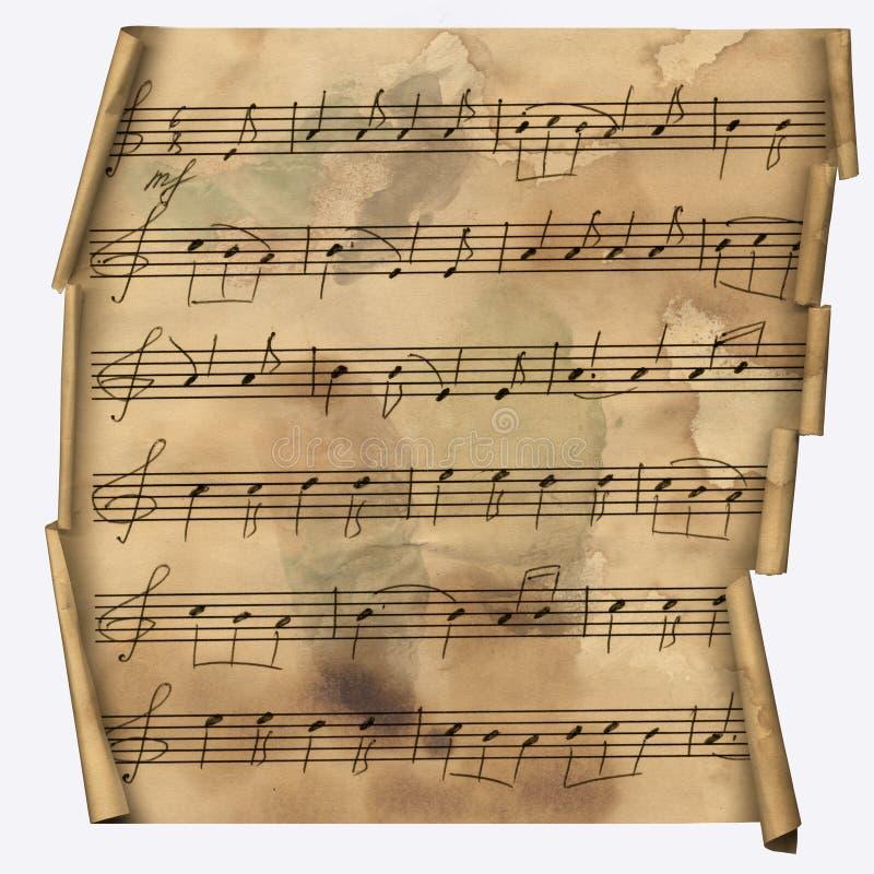 Papel de Grunge com notas musicais para o projeto ilustração stock