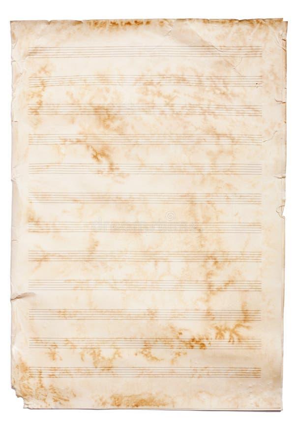 Papel de hoja de música aislado sobre el fondo blanco. fotografía de archivo