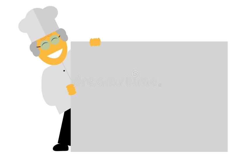 Papel de Holding Big Blank del cocinero, aislado en blanco libre illustration