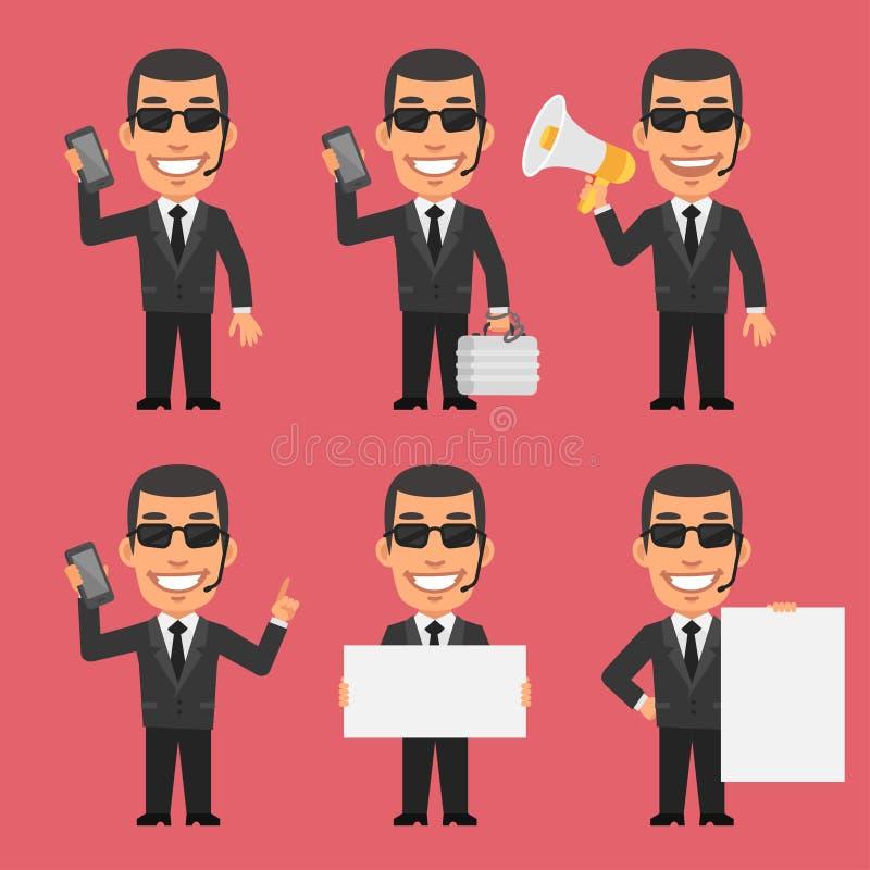 Papel de Holds Phone Megaphone del guardia de seguridad stock de ilustración