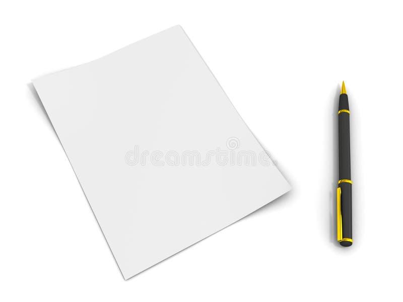 Papel de la pluma y de nota libre illustration
