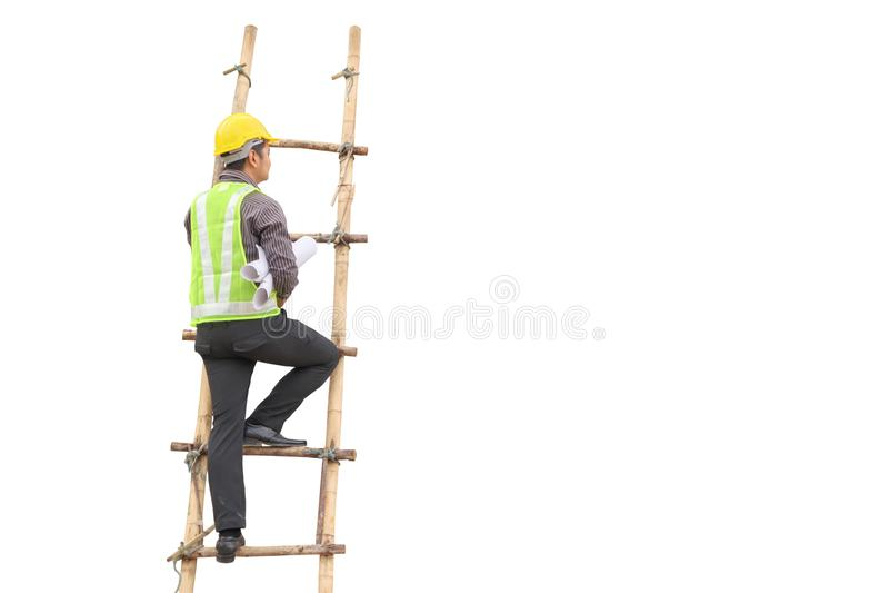Papel de modelo asiático del control del ingeniero de construcción del hombre de negocios fotos de archivo