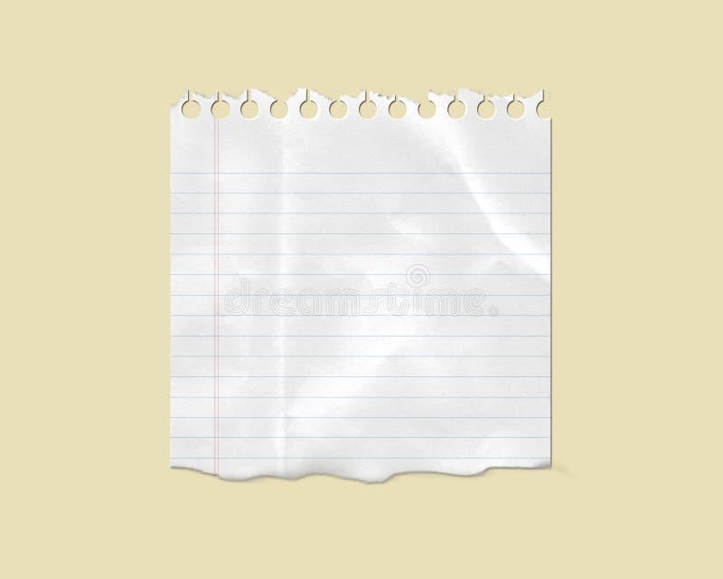 Papel de nota alineado rasgado blanco stock de ilustración