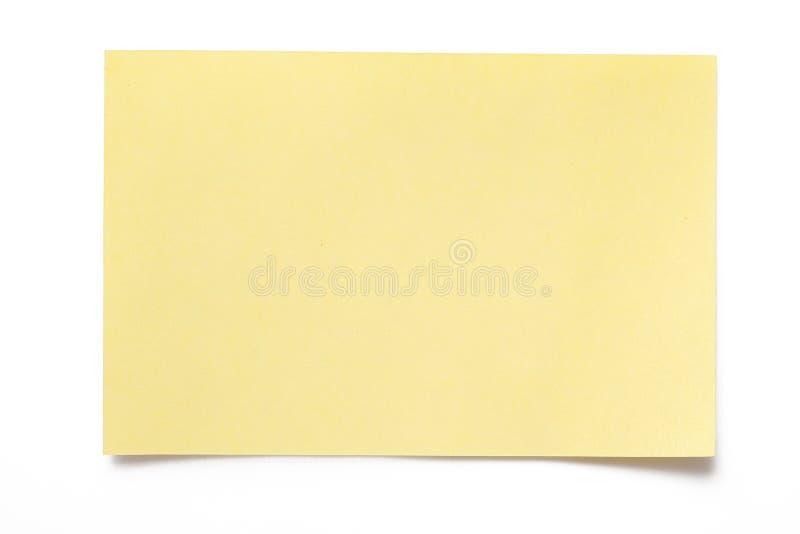 Papel de nota amarillo fotos de archivo libres de regalías