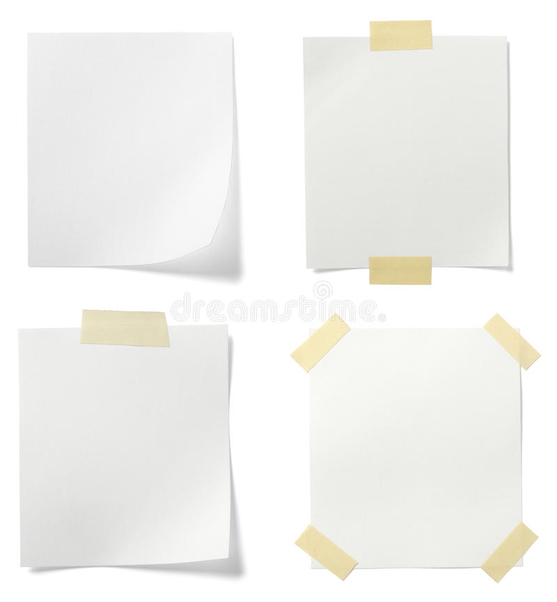 Papel de nota branco fotos de stock royalty free
