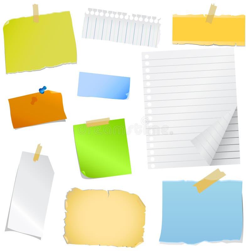 Papel de nota colorido stock de ilustración