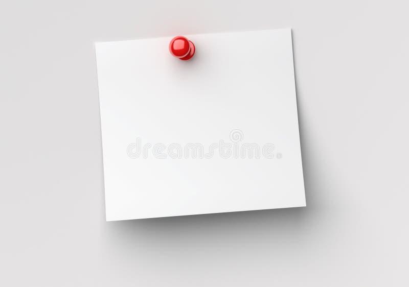 Papel de nota com o pino vermelho do impulso ilustração stock