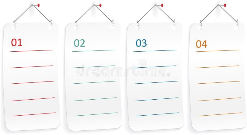 Papel de nota com pino do impulso Vetor ilustração royalty free