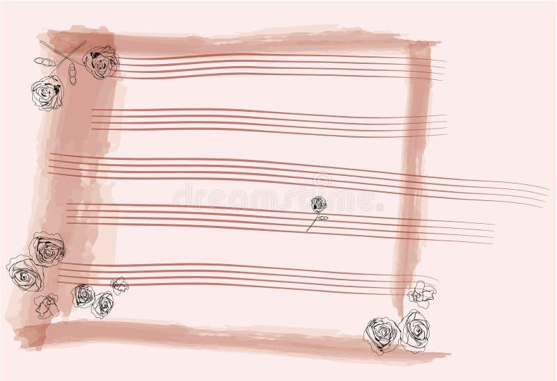 Papel de nota da cor-de-rosa de Rosa ilustração stock