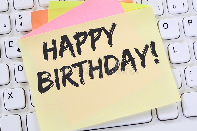Papel de nota do negócio da celebração dos cumprimentos do feliz aniversario fotos de stock royalty free