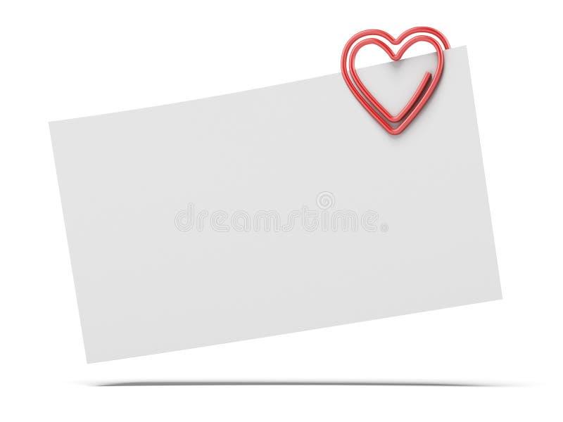 Papel de nota e clipe de papel do coração imagens de stock royalty free