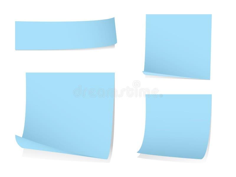 Papel de nota em branco pegajoso com sombras ilustração stock