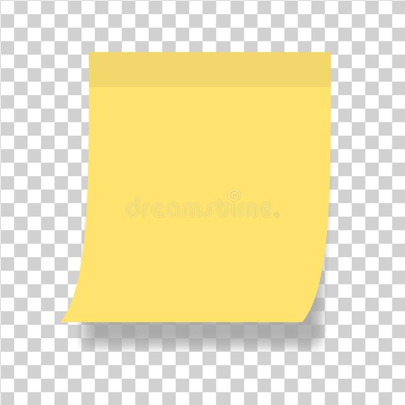 Papel de nota simple o etiqueta engomada pegajosa Nota pegajosa de la plantilla con la cinta adhesiva en fondo transparente Vecto stock de ilustración