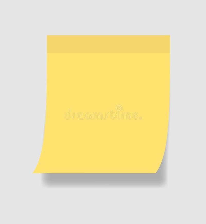Papel de nota simples ou etiqueta pegajosa Nota pegajosa amarela do molde com a fita adesiva no fundo cinzento Ilustra??o EPS10 d ilustração do vetor