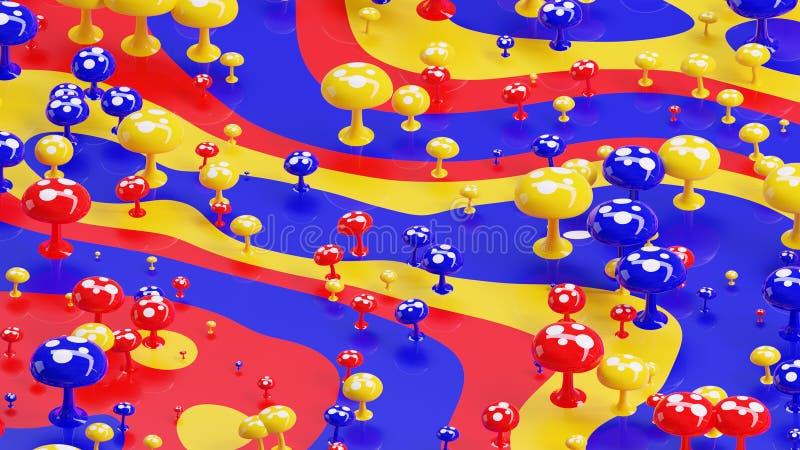 Papel de parede abstrato colorido do fundo do cogumelo 3d imagens de stock royalty free