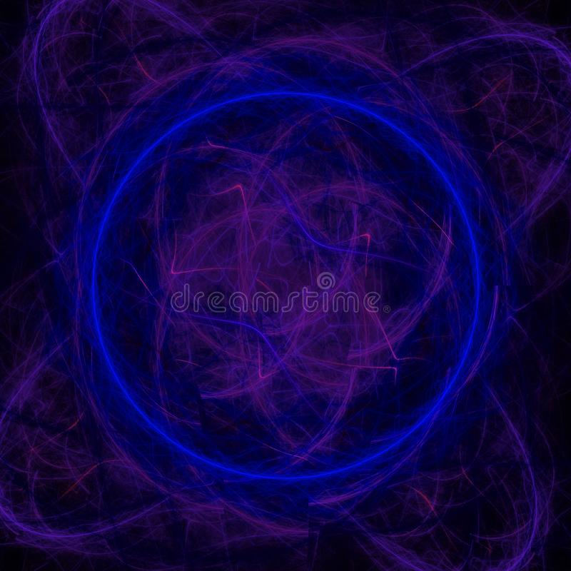 Papel de parede abstrato escuro do fractal com círculo azul e muitas formas imagens de stock
