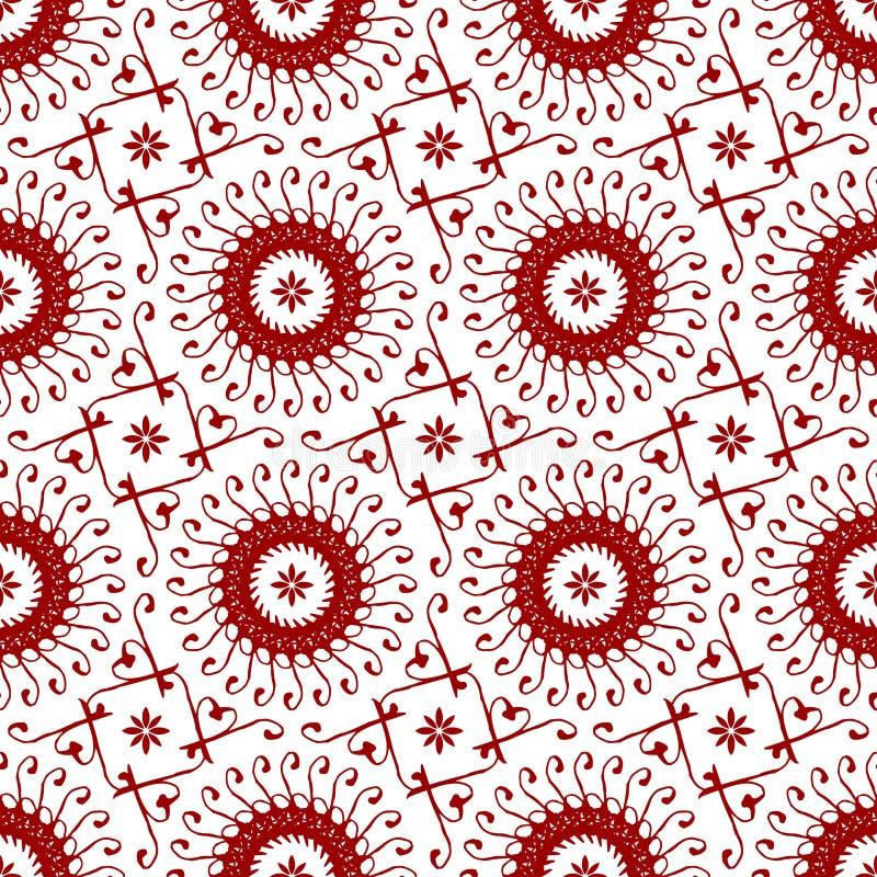 Papel de parede abstrato sem emenda floral vermelho chinês árabe da textura do teste padrão do vintage real oriental decorativo ilustração do vetor