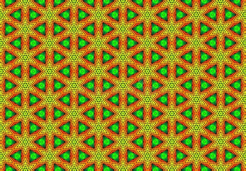 Papel de parede amarelo verde vermelho do teste padrão do geomatics imagem de stock