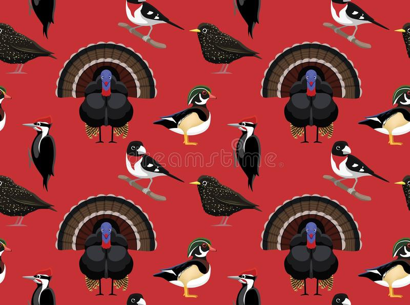 Papel de parede americano aleatório 1 dos pássaros ilustração stock