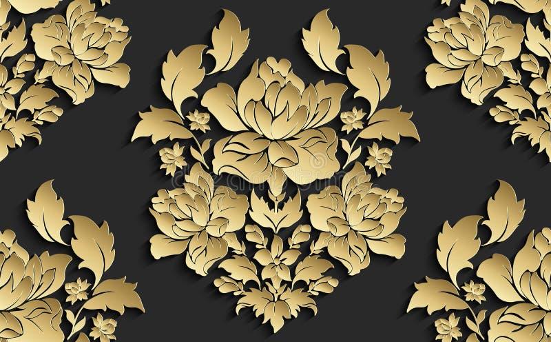 Papel de parede ao estilo de barroco Teste padrão floral sem emenda do damasco do vetor Ornamento de Rosa ilustração stock