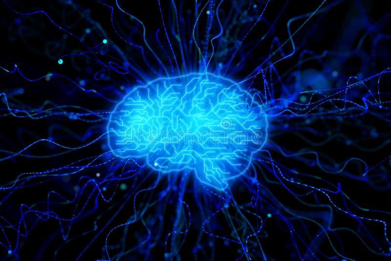 Papel de parede azul criativo do cérebro ilustração royalty free