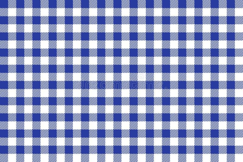 Papel de parede azul e branco da textura do quadrado do tablecloth ilustração stock
