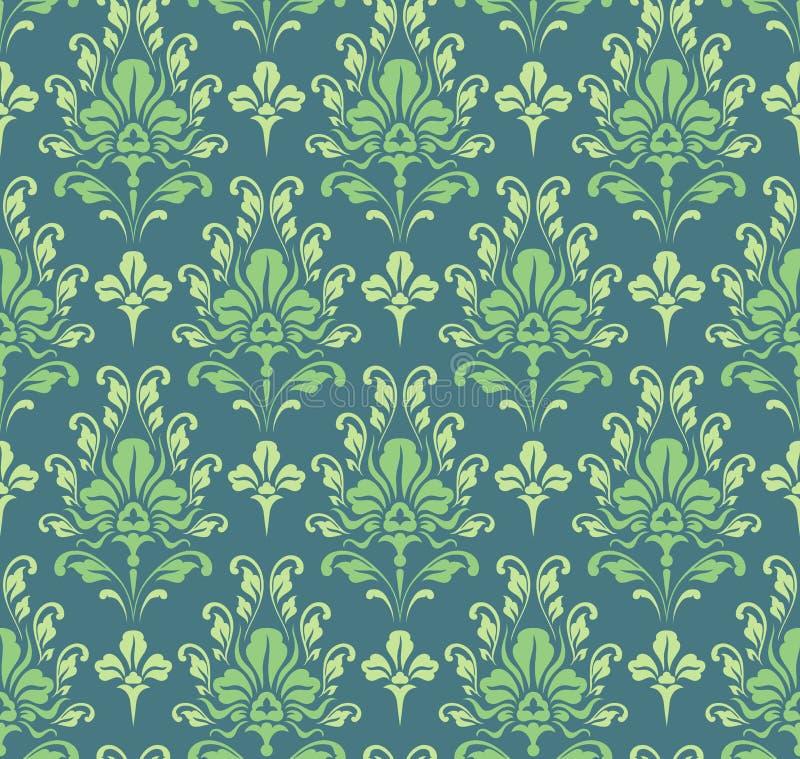 Papel de parede barroco verde sem emenda ilustração royalty free