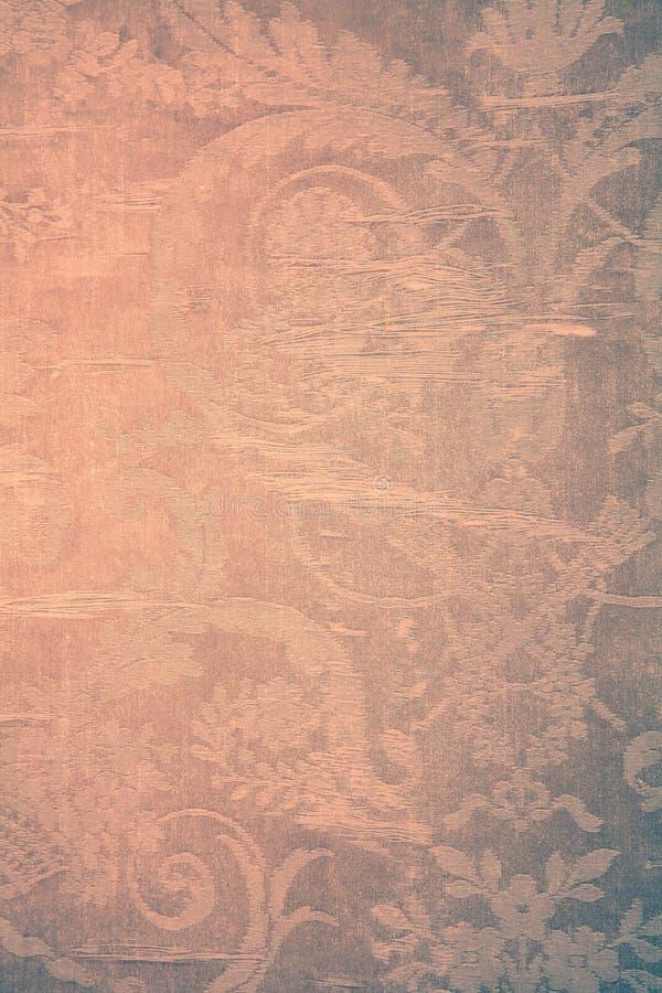 Papel de parede bege do vintage com teste padrão gasto do victorian de matéria têxtil fotografia de stock