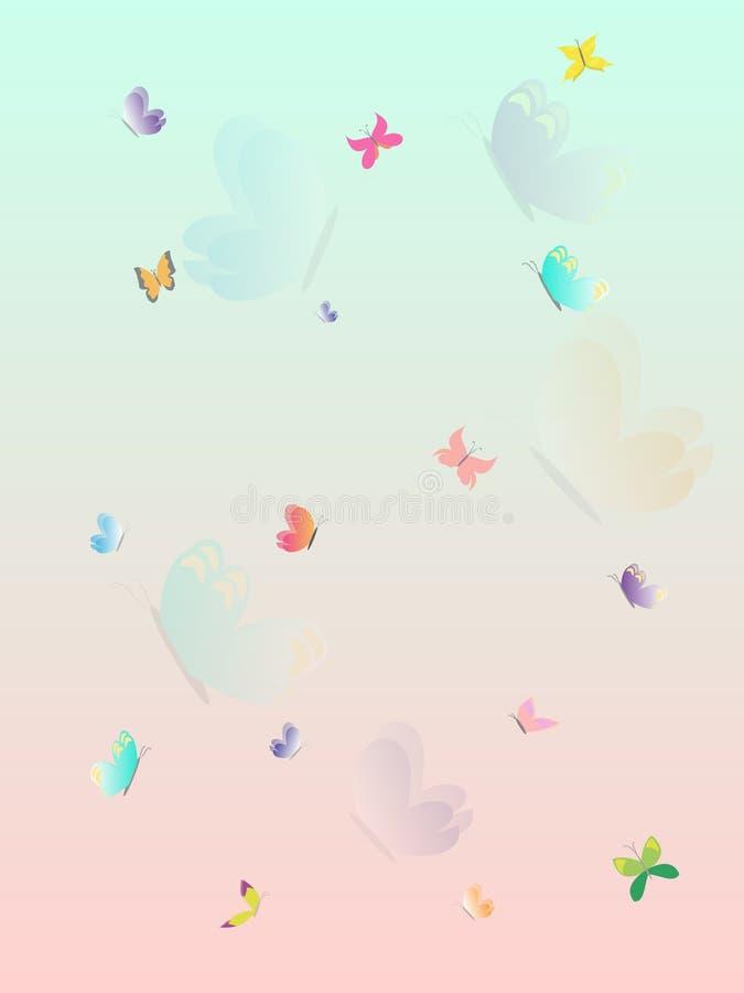 Papel de parede bonito do respingo colorido do verão da borboleta Ilustração mergulhada do vetor ilustração stock