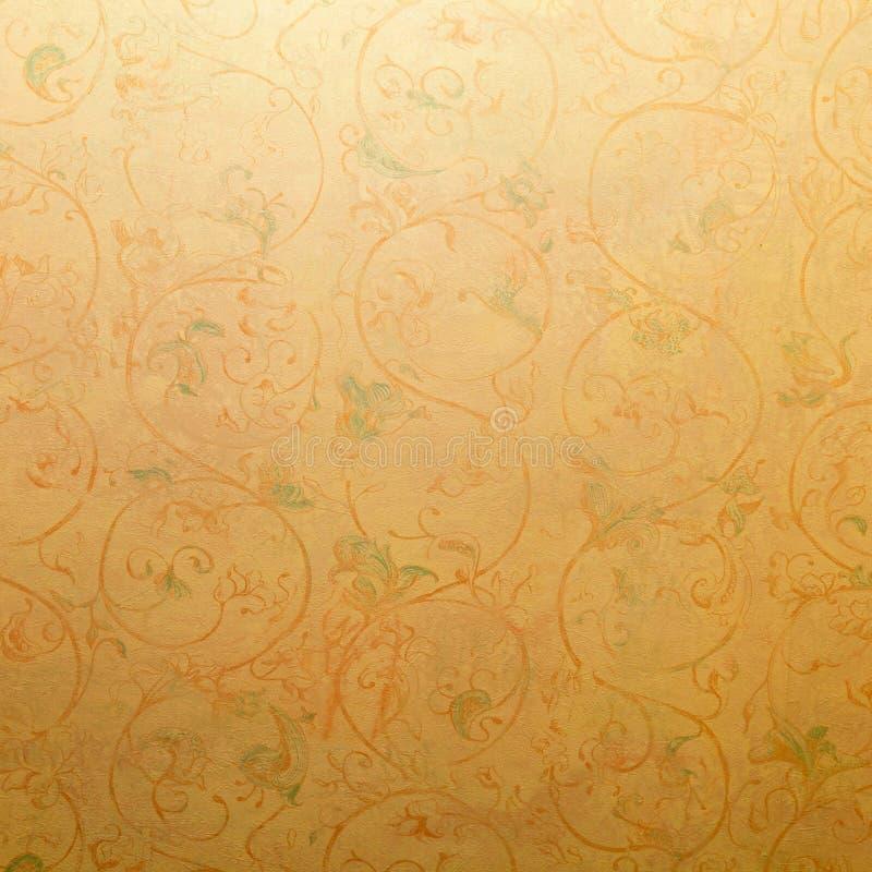 Papel de parede chique gasto do vintage com o vencedor floral da vinheta pastel imagem de stock