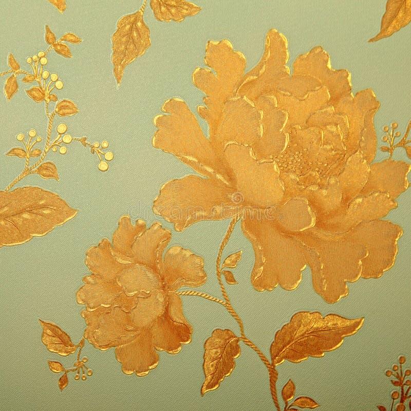 Papel de parede chique gasto do vintage com teste padrão floral do victorian imagens de stock