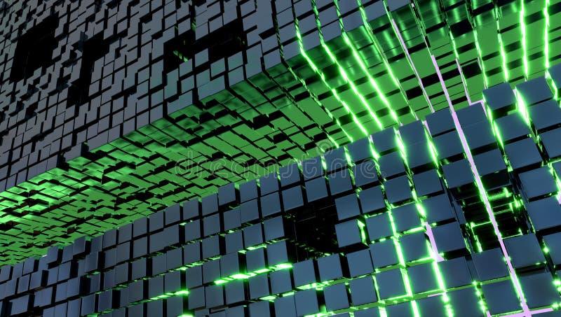Papel de parede com cubos do metal e uma luz verde, ilustração 3d ilustração do vetor