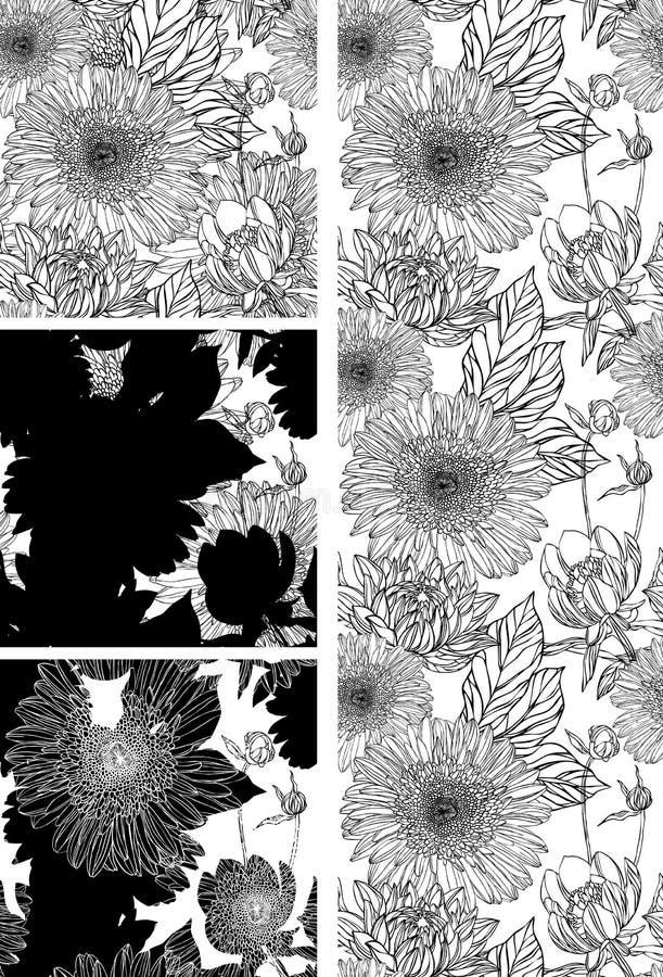Papel de parede com flor preta ilustração do vetor