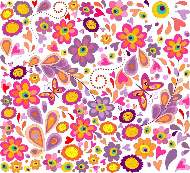 Papel de parede com flores engraçadas ilustração stock