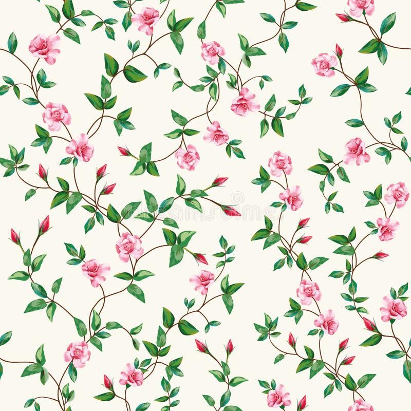 Papel de parede cor-de-rosa do ramo da flor sem emenda do teste padrão do vetor ilustração royalty free