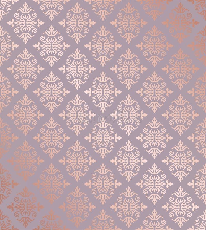 Papel de parede cor-de-rosa do ouro do damasco floral sem emenda ilustração stock