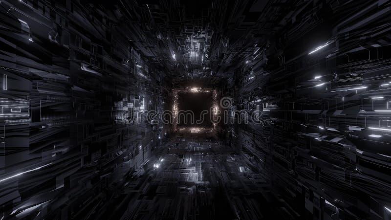 Papel de parede 3d do fundo do túnel do espaço da tecnologia da técnica que rende a ilustração 3d ilustração do vetor